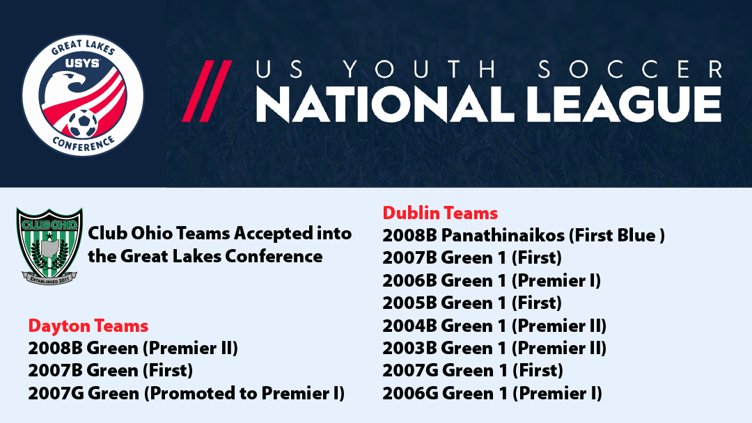 Teams Accepted to USYS Great Lake Conference